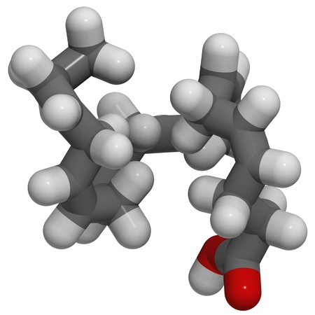 3D structure of Docosahexaenoic acid (DHA, omega-3 fatty acid)