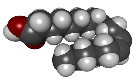 unsaturated: 3D molecular structure of linoleic acid (LA), an omega-6 unsaturated fatty acid