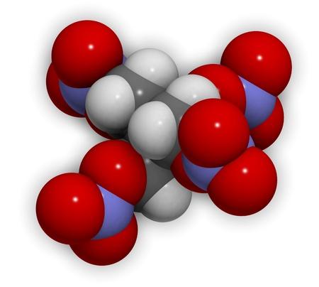 propellant: 3D molecular structure of the explosive compound pentaerythritol tetranitrate (PETN)