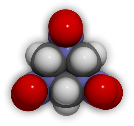 propellant: 3D molecular structure of the explosive compound RDX