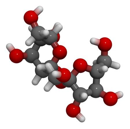 sucrose: 3D molecular structure of the sweet molecule sugar (sucrose, saccharose) Stock Photo