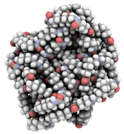 dupont: Molecular structure of a particle,of nylon 6,6 (polyamide), a common type of plastic.