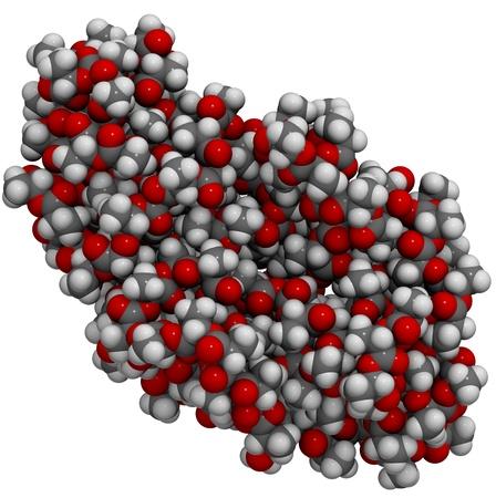 monomer: La estructura molecular de una part�cula, de �cido polil�ctico (PLA), un biopl�stico que es una alternativa sostenible para un n�mero de pl�sticos derivados del petr�leo.