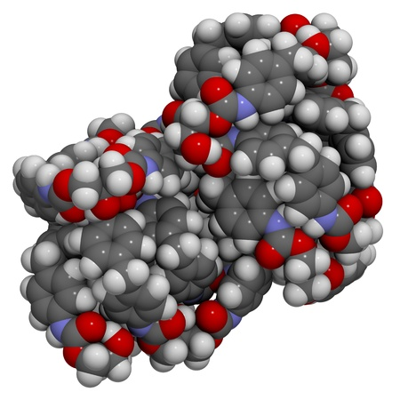 pu foam: Molecular structure of a particle of polyurethane, a plastic commonly used in the manufacture of insulation materials and foams
