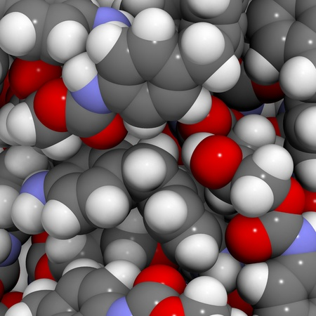 monomer: Molecular structure of a particle of polyurethane, a plastic commonly used in the manufacture of insulation materials and foams
