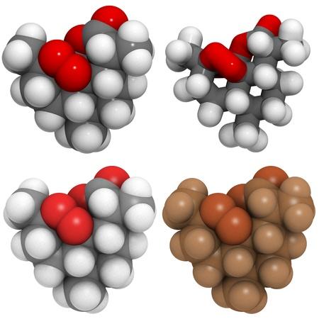 molekuul: A molecule of Artemisinin (Qinghaosu), a drug used to treat malaria. Stock Photo