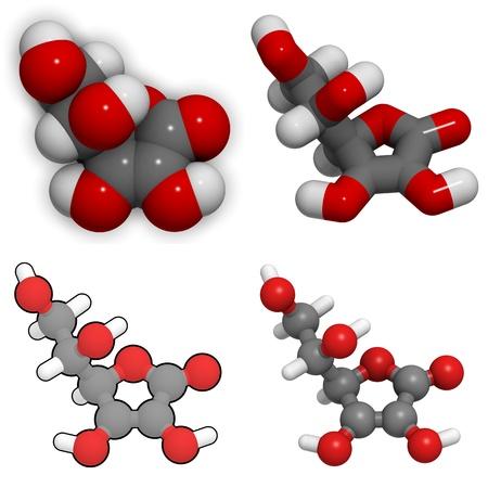 ascorbic: Molecule of Vitamin C (Ascorbic acid)