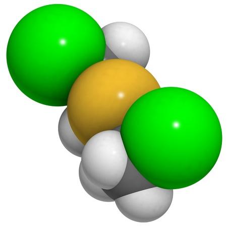 chemical warfare: molecule of mustard gas (Yperite, bis(2-chloroethyl) sulfide), a chemical warfare agent