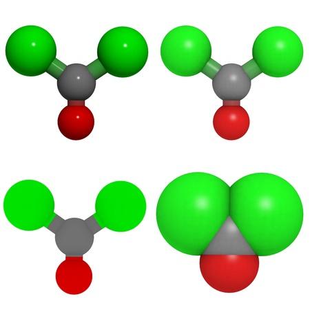chemical warfare: molecule of phosgene, a chemical warfare agent