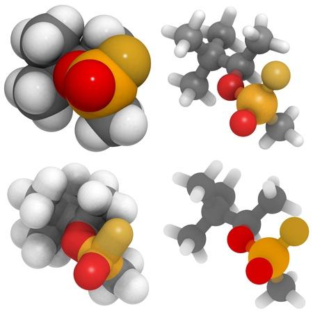 molekuul: a molecule of Soman (GD), a nerve agent and weapon of mass destruction.