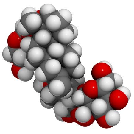 molekuul: A molecule of stevioside, a natural sweetener and sugar substitute.