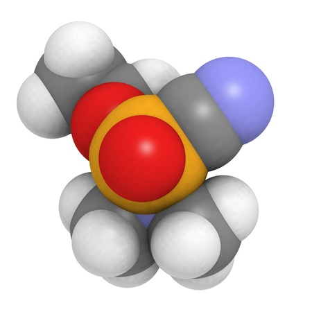 wmd: molecule of tabun (GA) a nerve agent and weapon of mass destruction. Stock Photo