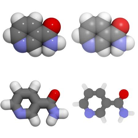 molekuul: A molecule of Vitamin B3 (niacin, niacinamide, nicotinic acid amide)