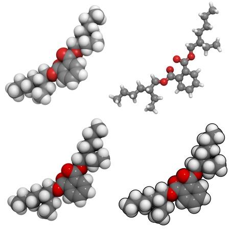 エチルヘキシル フタル酸 (DEHP)、塩化ビニル樹脂の製造に広く使用される可塑剤。