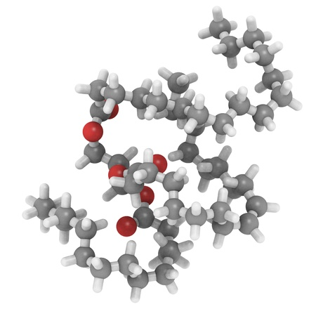 a molecule of triglyceride like it is typically found in animal (butter, cheese, beef) fat. It contains mostly saturated fatty acids. photo