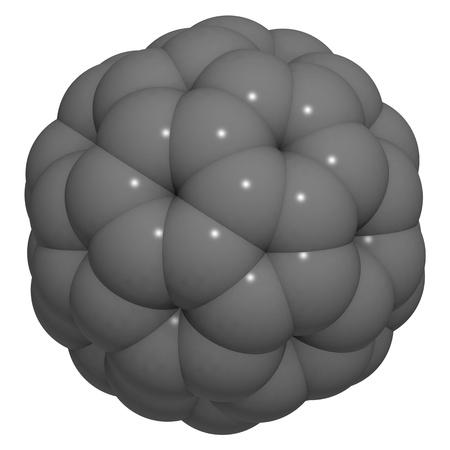 A molecule of buckminsterfullerene (buckyball, C60). Stock Photo