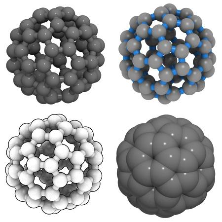 lifespan: A molecule of buckminsterfullerene (buckyball, C60). Stock Photo