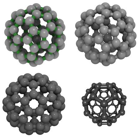 molekuul: A molecule of buckminsterfullerene (buckyball, C60). Stock Photo