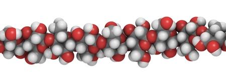 cellulose: detalle de una cadena de celulosa, el principal constituyente de algod�n, madera y papel.
