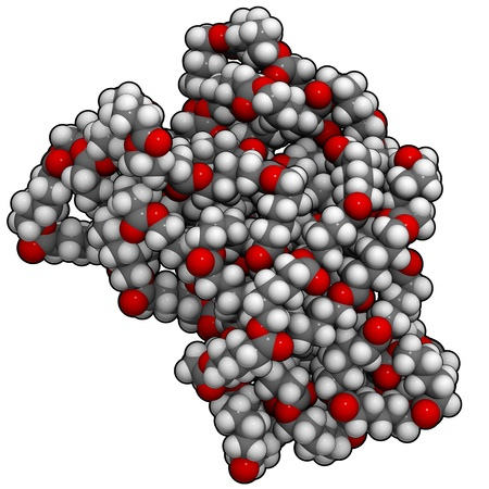 molekuul: A molecule of polycaprolactone, a bioplastic.
