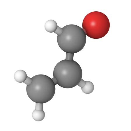 carcinogen: Una mol�cula de acrole�na, un compuesto t�xico que se forma cuando la grasa se sobrecalienta Foto de archivo
