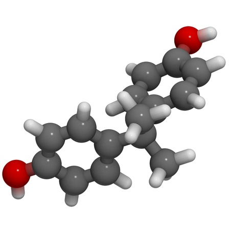 epoxy: A molecule of bisphenol A, a chemical often present in polycarbonate plastics that has estrogen disrupting effects