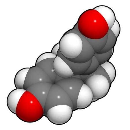 disrupting: A molecule of bisphenol A, a chemical often present in polycarbonate plastics that has estrogen disrupting effects