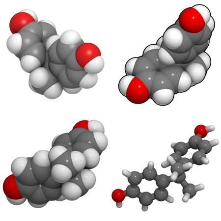 monomer: A molecule of bisphenol A, a chemical often present in polycarbonate plastics that has estrogen disrupting effects