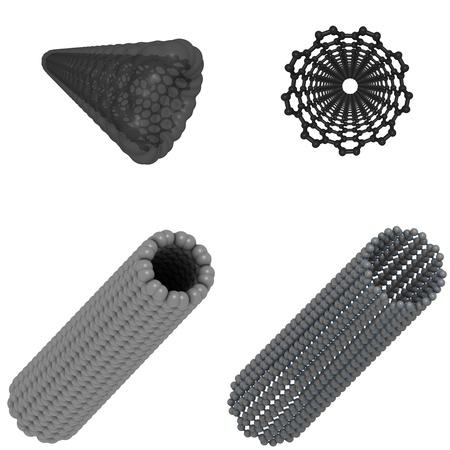 a carbon nanotube, a promising nanotechnology molecule  Stock Photo