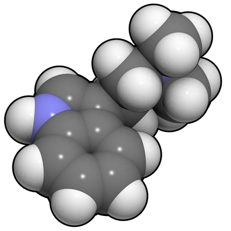 A molecule of dimethyltryptamine, a psychedelic tryptamine and the active principle in ayahuasca.