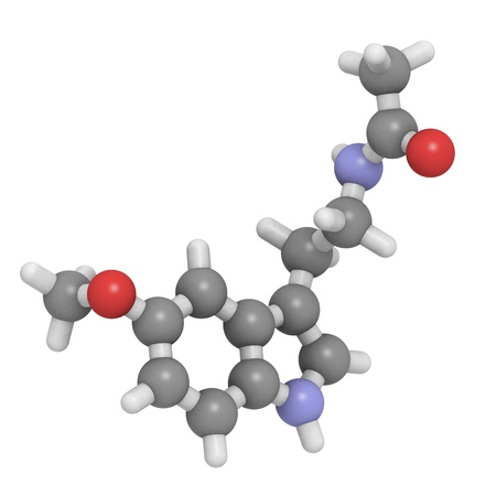 regulating: A molecule of melatonin, a hormone that plays an important role in regulating the circadian rythm.