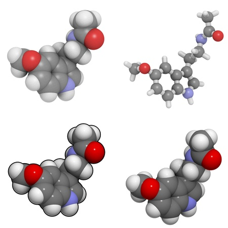 molekuul: A molecule of melatonin, a hormone that plays an important role in regulating the circadian rythm.