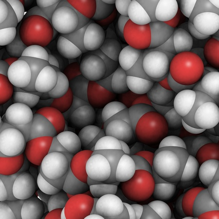 molekuul: Chemical composition of polyhydroxybutyrate bioplastic, a sustainable alternative to oil-based plastics.