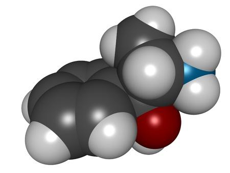 Cathine (Norpseudoephedrine), 3D structure isolated on white.. photo