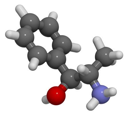 amphetamine: La catina (norpseudoefedrina), la estructura 3D aislado en blanco .. Foto de archivo