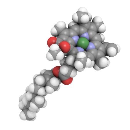 Estructura 3D molecular de la clorofila A, un pigmento esencial en la fotosíntesis