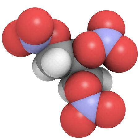 angina: La estructura molecular en 3D de nitroglicerina, la mol�cula de explosivo hallado en la dinamita que se utiliza tambi�n como un medicamento para tratar la angina de pecho.