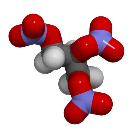 angina: 3D molekulare Struktur von Nitroglycerin, fanden die explosive Dynamit in das Molek�l wird auch als Medikament zur Behandlung von Angina pectoris eingesetzt. Lizenzfreie Bilder