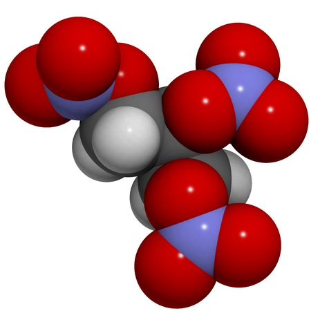 nitrate: 3D molecular structure of nitroglycerine, the explosive molecule found in dynamite that is also used as a drug to treat angina.
