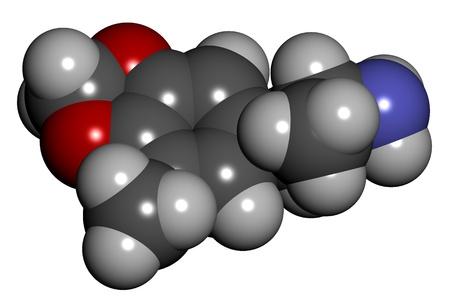 drug trafficking: 3-methoxy-4,5-methylenedioxyamphetamine (MMDA), 3D structure isolated on white.. Stock Photo