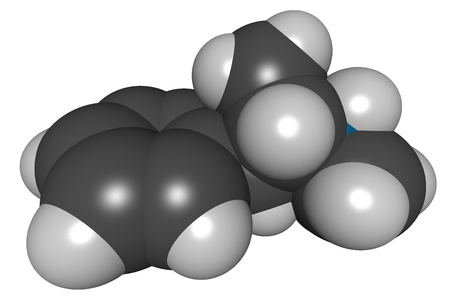 methamphetamine: methamphetamine (meth), 3D structure isolated on white..