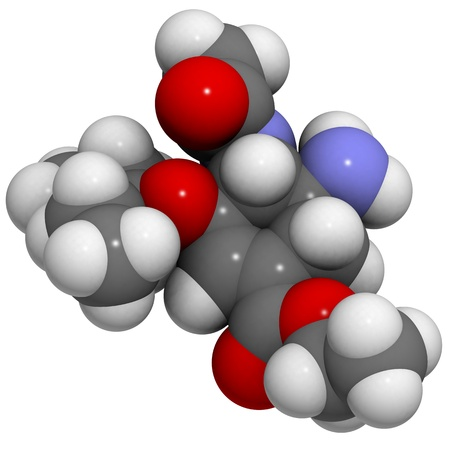 3D molecular structure of the antiviral drug oseltamivir Stock Photo - 13614230