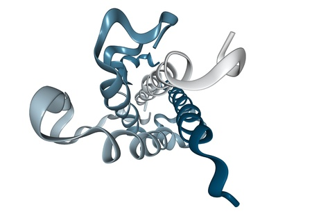 Chemical structure of human growth hormone (HGH), a natural hormone that is used both as a drug and as a doping agent.