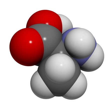 molekuul: Chemical structure of a molecule of L-Alanine (Ala, A). This is a simple, nonessential amino-acid Stock Photo