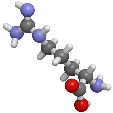 peptide: Chemical structure of a molecule of L-Arginine (Arg, R). This is a nonessential amino acid.