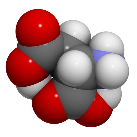 asp: Chemical structure of a molecule of L-Aspartic acid (Asp, D). This acidic amino acid is a non-essential amino acid found in many natural sources.