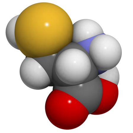 Estructura química de una molécula de L-cisteína (Cys, C). La cisteína es un semi-esencial, que contiene azufre de aminoácidos. Se forma puentes disulfuro y es por tanto esencial para el correcto plegamiento de proteínas. Foto de archivo - 14179407