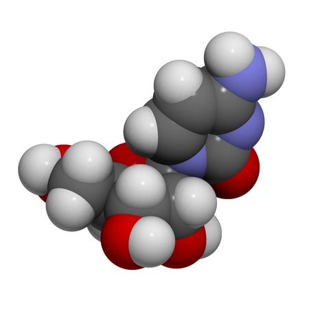 nucleoside: Chemical structure of a molecule of Cytidine (C). This is one of the four building blocks of RNA.