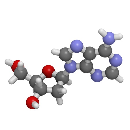 nucleoside: Chemical structure of a molecule of deoxyadenosine (A, dA), one of the four building blocks of DNA. Stock Photo