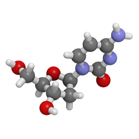 nucleoside: Chemical structure of a molecule of deoxycytidine (dC, C), one of the four building blocks of DNA.